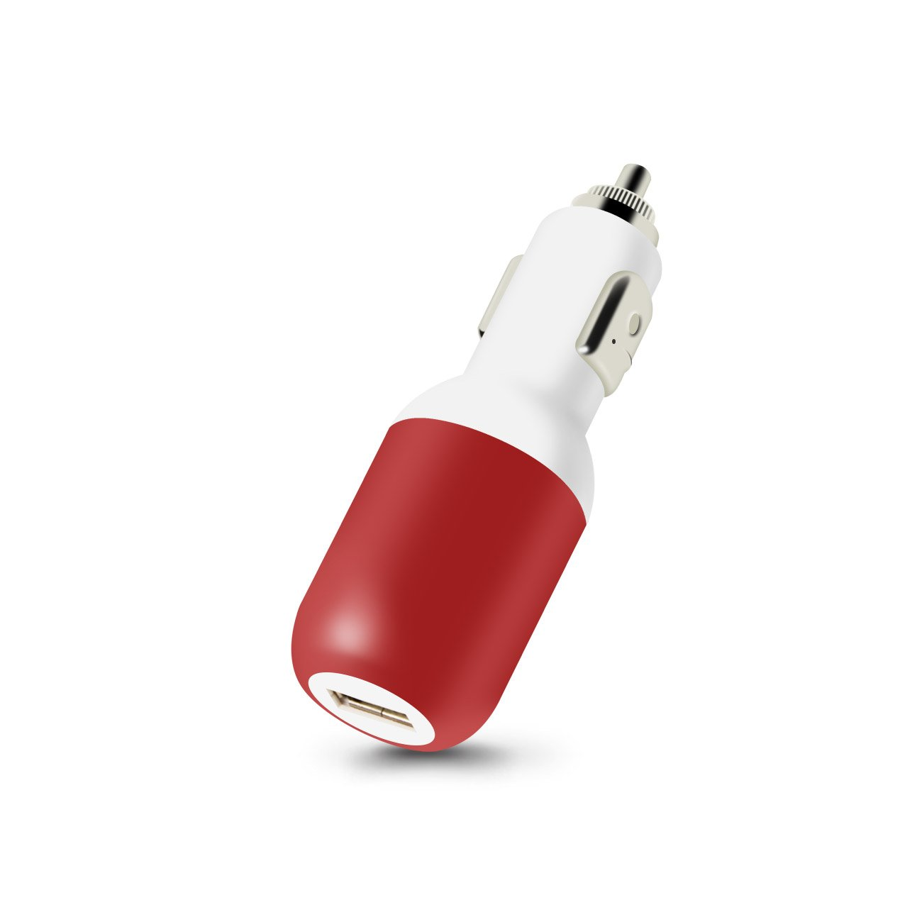 IPHONE 4G 1 AMP USB CAR CHARGER WITH CABLE IN RED